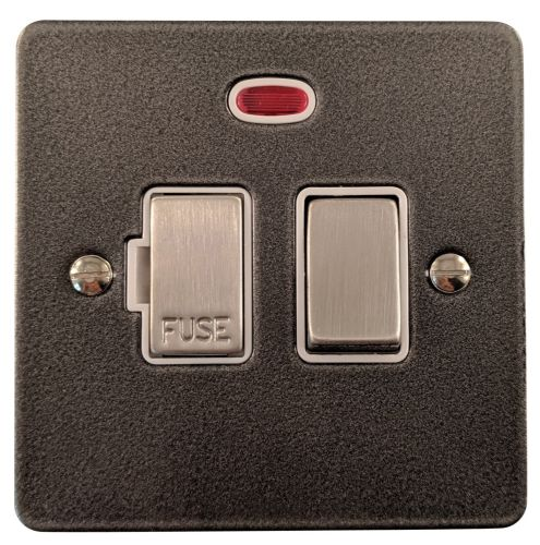 G&H FP227 Flat Plate Pewter 1 Gang Fused Spur 13A Switched & Neon